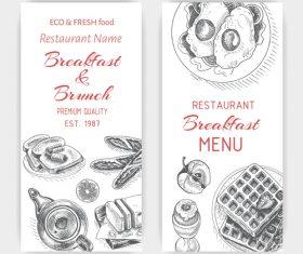Breakfast with brunch menu card template vector 04