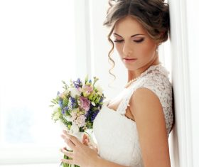 Bride wedding photos in different scenes Stock Photo 08