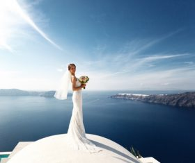 Bride wedding photos in different scenes Stock Photo 11