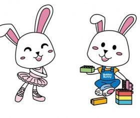 Bunny cartoon shape vector