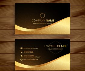 Business card template gold with black vector