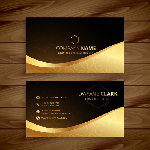Business card template gold with black vector free download business card template gold with black vector reheart Image collections