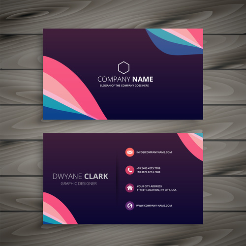 Business card template purple abstract vector