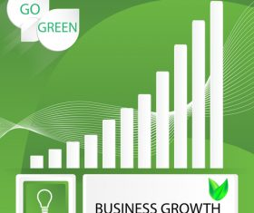 Business growth infographic green vector