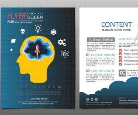Business startup flyer with brochure template vector 02