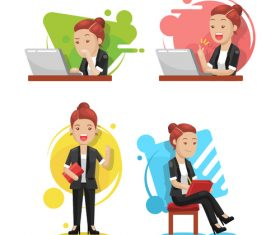 Business woman working white collar cartoon vector