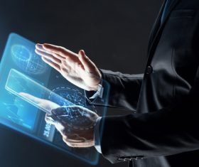 Businessman using virtual technology Stock Photo 10