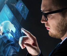 Businessman using virtual technology Stock Photo 11