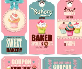 Cake pastry label vector material