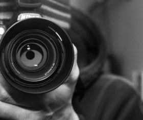 Camera lens black and white photo Stock Photo