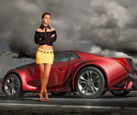 Car show girl with red sports car Stock Photo