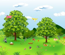 Cartoon animals and landscape background vector