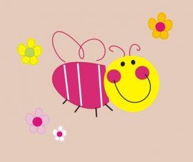 Cartoon bee and flower vector