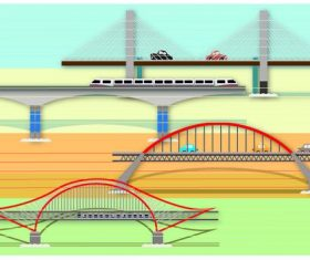 Cartoon bridge and car creative illustration vector