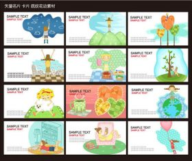 Cartoon business card template design vector material