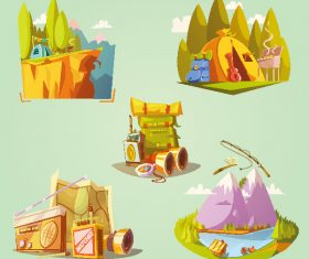 Cartoon camping creative illustration vector