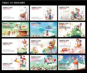 Cartoon character business card design vector material