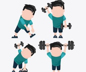 Cartoon character exercising weightlifting