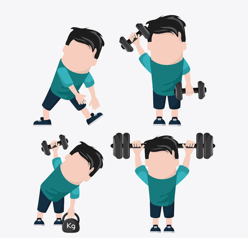 Cartoon character exercising weightlifting