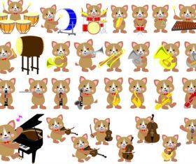 Cartoon dog musical instrument vector material