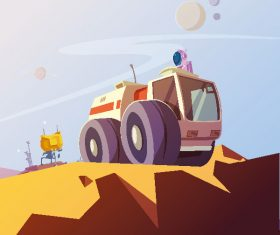 Cartoon exploration planet creative illustration vector