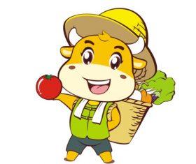 Cartoon farmer cow vector