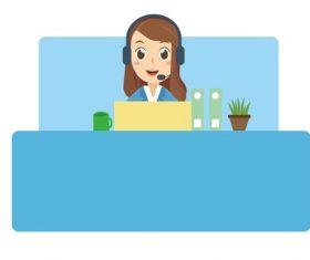 Cartoon female customer service vector