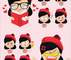 Cartoon girl emoticon pack vector