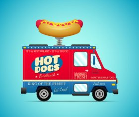 Cartoon hot dog fast food cart vector material