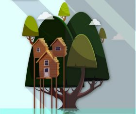 Cartoon house on the tree creative illustration vector