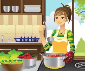 Cartoon housewife cooking vector
