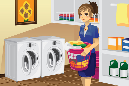 Cartoon housewife washing clothes vector