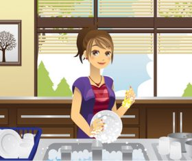 Cartoon housewife washing dishes vector
