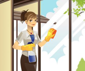 Cartoon housewife wiping glass vector
