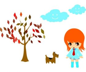 Cartoon landscape character animal vector