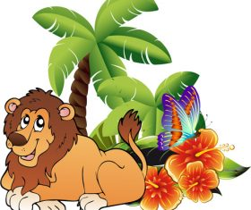 Cartoon lion and plant vector material