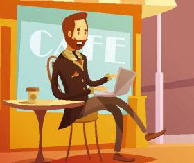 Cartoon man sitting in open air cafe illustration vector
