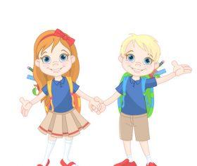 Cartoon primary school student vector