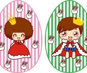 Cartoon prince and princess vector