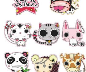 Cartoon punk animal vector sticker