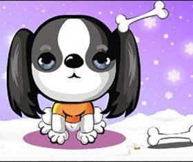 Cartoon puppy and bones vector