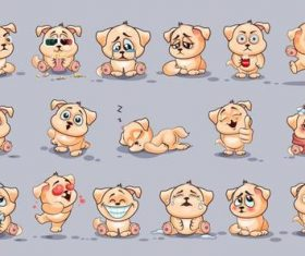 Cartoon puppy expression pack vector material