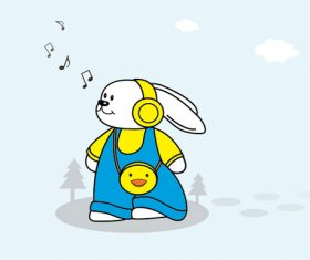 Cartoon rabbit listening to music vector