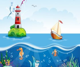 Cartoon sea and underwater world vector