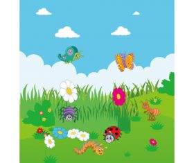 Cartoon spring various insects flowers vector
