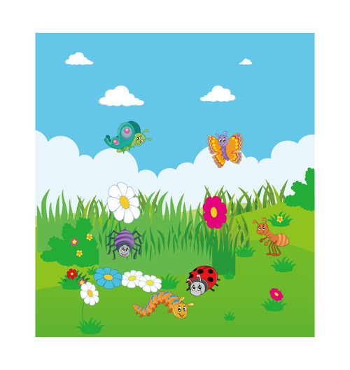 Cartoon Spring Various Insects Flowers Vector Free Download
