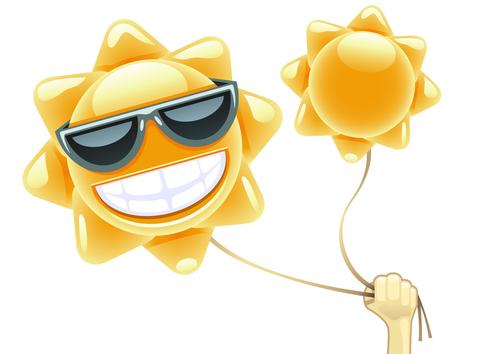 Cartoon sun balloon vector material