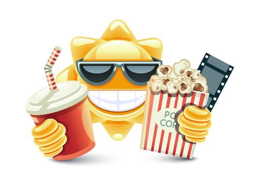 Cartoon sun with cinema vector