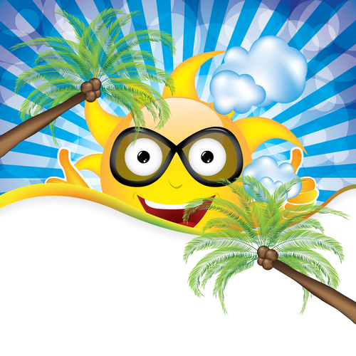 Cartoon sun with summer holiday background vector