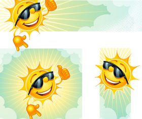 Cheerful cartoon sun with sunglasses vector 01